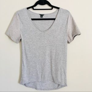 Ann Taylor Grey T-shirt with suede beaded sleeves